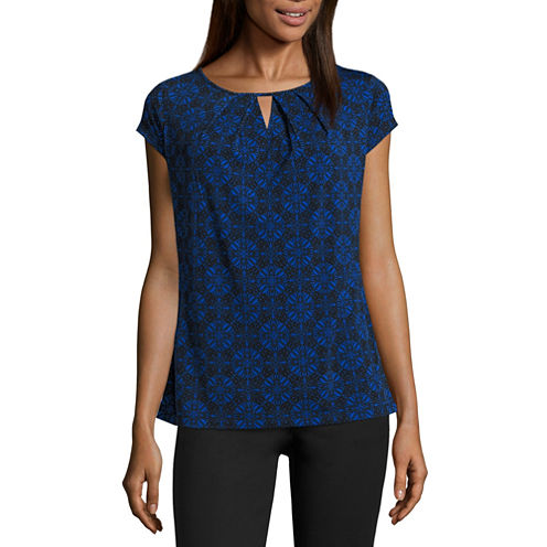 Liz Claiborne Short Sleeve Scoop Neck T-Shirt-Womens Talls