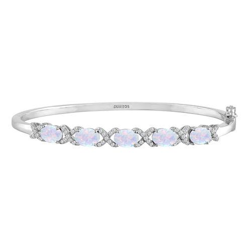Womens Multi Color Opal Sterling Silver Bangle Bracelet