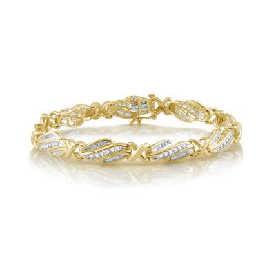 Fine Jewelry Womens 2 CT. T.W. White Diamond 10K Gold Tennis Bracelet QuSSRD