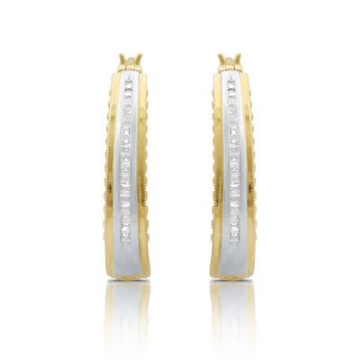 T W White Diamond 14k Gold Over Silver Hoop Earrings