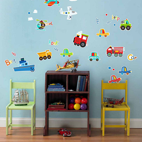 Trains Planes and Cars Removable Wall Decal Décor