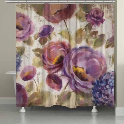 Laural Home Purple Floral Garden Shower Curtain