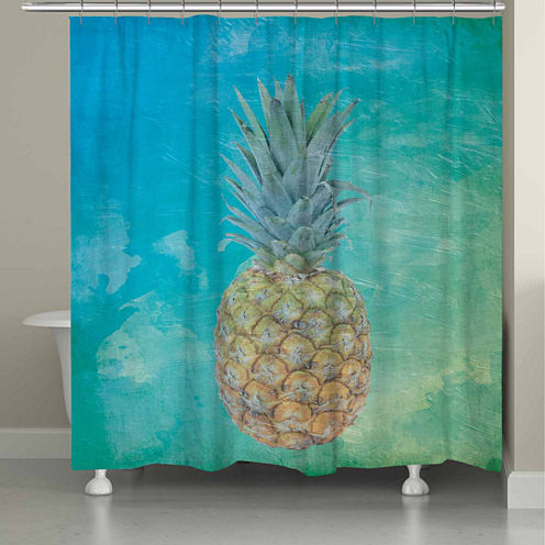 Laural Home Blue Hawaiian Pineapple Shower Curtain