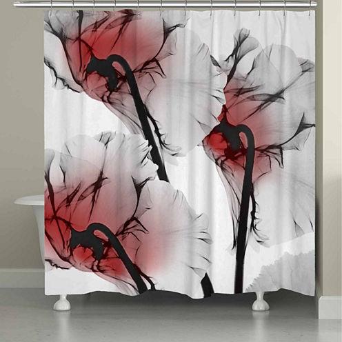 Laural Home Crimson Cyclamen X-Ray Flowers Shower Curtain