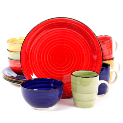 Color Vibes Hand Painted Stoneware Dinnerware Set  sc 1 st  JCPenney & Gibson Home 12-pc. Color Vibes Hand Painted Stoneware Dinnerware Set ...