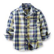 Carter's® Long-Sleeve Button-Front Plaid Poplin Shirt – Boys 5-7
