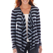 Liz Claiborne Long-Sleeve Striped Flyaway Cardigan Sweater