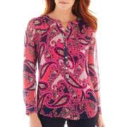 Liz Claiborne® 3/4-Sleeve Paisley Henley Blouse with Cami
