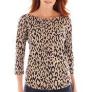 Liz Claiborne® 3/4-Sleeve Animal Print Tee