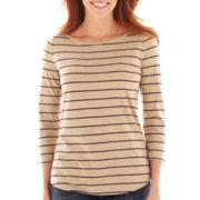 Liz Claiborne® 3/4-Sleeve Striped Tee