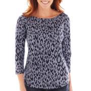 Liz Claiborne 3/4-Sleeve Animal Print Tee
