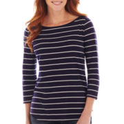 Liz Claiborne® 3/4-Sleeve Striped Tee