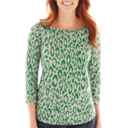 Liz Claiborne® 3/4-Sleeve Animal Print Tee