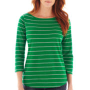 Liz Claiborne® 3/4-Sleeve Striped Tee - Tall