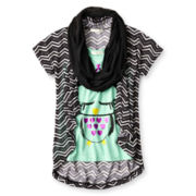 Self Esteem® Sweater, Tee and Scarf Set - Girls 7-16 and Plus