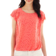 a.n.a® Short-Sleeve Banded-Bottom Top