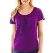 St. John's Bay® Short-Sleeve Lace-Inset Top - Petite