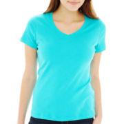 St. John's Bay® Short-Sleeve V-Neck Tee - Petite