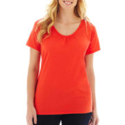 St. John's Bay® Shirred V-Neck Tee - Plus