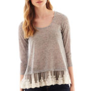 Arizona 3/4-Sleeve Lace-Hem Top