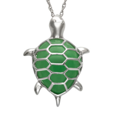 jcpenney.com | Pear-Shaped Green Jade and Sterling Silver Turtle Pendant Necklace