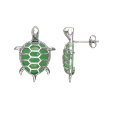 jcpenney.com | Pear-Shaped Genuine Green Jade and Sterling Silver Turtle Stud Earrings