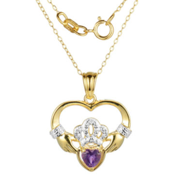 jcpenney.com | Heart-Shaped Genuine Amethyst and Diamond-Accent Claddagh Pendant Necklace