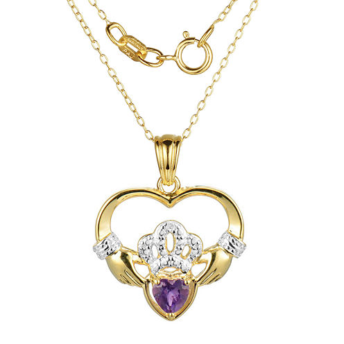 Heart-Shaped Genuine Amethyst and Diamond-Accent Claddagh Pendant Necklace