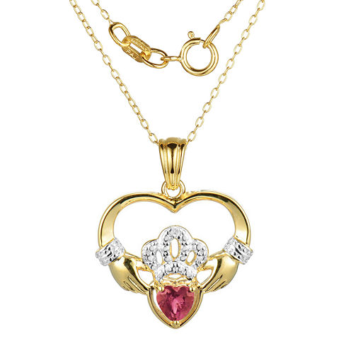 Heart-Shaped Lab-Created Ruby and Diamond-Accent Claddagh Pendant Necklace