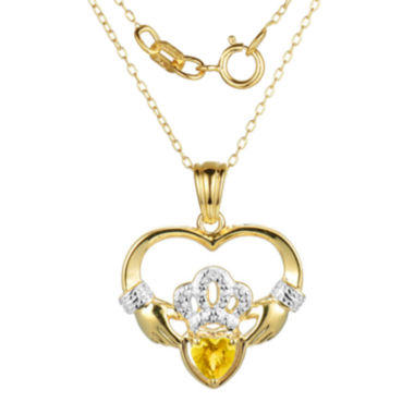 jcpenney.com | Heart-Shaped Genuine Citrine and Diamond-Accent Claddagh Pendant Necklace