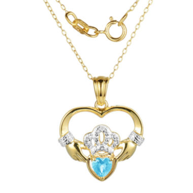 jcpenney.com | Heart-Shaped Genuine Blue Topaz and Diamond-Accent Claddagh Pendant Necklace