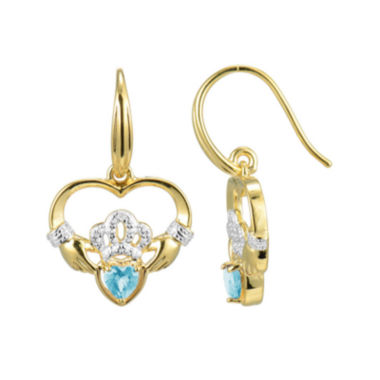 jcpenney.com | Heart-Shaped Genuine Aquamarine and Diamond-Accent Claddagh Earrings