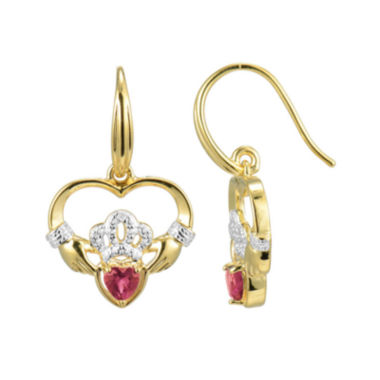 jcpenney.com | Heart-Shaped Lab-Created Ruby and Diamond-Accent Claddagh Earrings