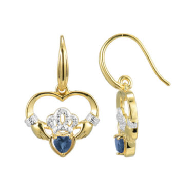 jcpenney.com | Heart-Shaped Genuine Blue Sapphire and Diamond-Accent Claddagh Earrings