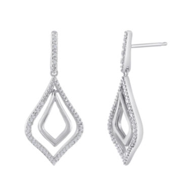 jcpenney.com | 1/5 CT. T.W. Diamond 10K White Gold Double-Teardrop Drop Earrings
