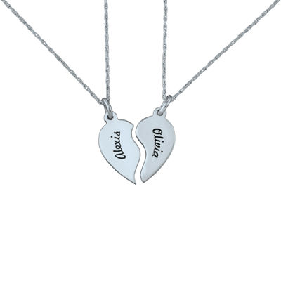 necklaces pendant two set sterling name for custom dp silver heart half keep