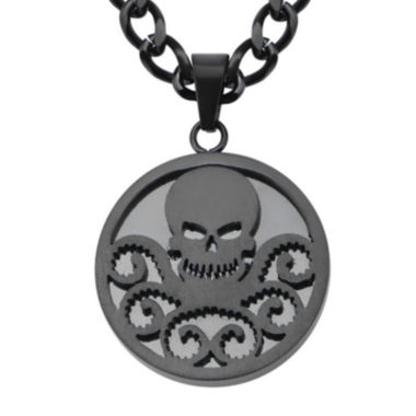 jcpenney.com | Marvel Hydra Logo Mens Black Ion-Plated Stainless Steel Pendant Necklace