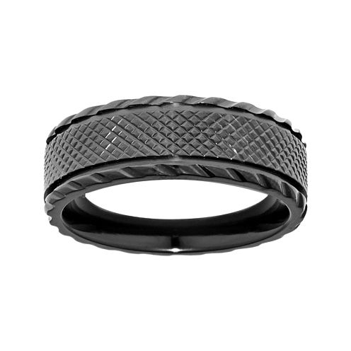 Mens Black Zirconium Textured Matte Center Wedding Band