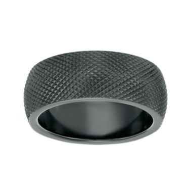 jcpenney.com | Mens Black Zirconium Textured Wedding Band