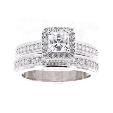 DiamonArt Cubic Zirconia Sterling Silver Asscher Cut Bridal Ring