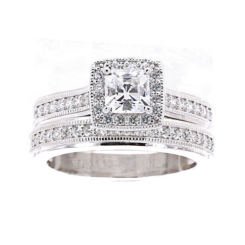 diamonart cubic zirconia sterling silver asscher cut bridal ring set - Jcpenney Wedding Ring Sets