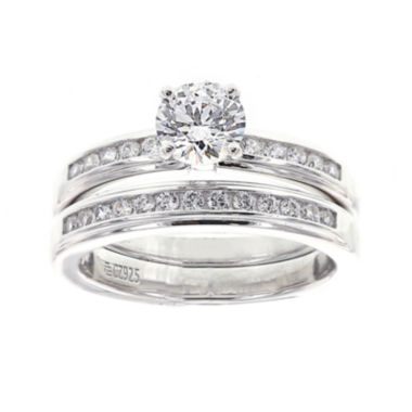 jcpenney.com | DiamonArt® Cubic Zirconia Sterling Silver Bridal Ring Set