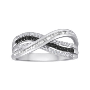 jcpenney.com | 1/4 CT. T.W. White and Color-Enhanced Black Diamond Sterling Silver Crossover Ring