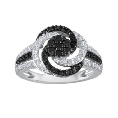 jcpenney.com | 1/2 CT. T.W. White and Color-Enhanced Black Diamond Sterling Silver Swirl Ring