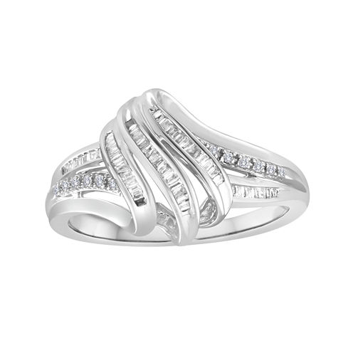 1/4 CT. T.W. Diamond Sterling Silver Ribbon Ring