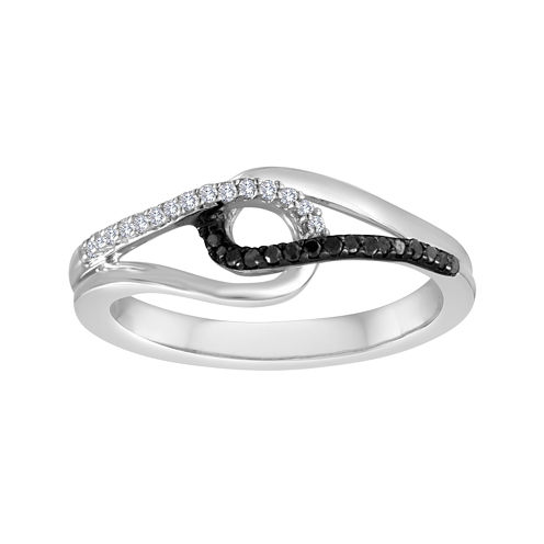 1/7 CT. T.W. White and Color-Enhanced Black Diamond Sterling Silver Ring