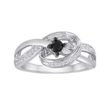 jcpenney.com | 1/4 CT. T.W. White and Color-Enhanced Black Diamond Sterling Silver Ring