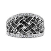 3/8 CT. T.W. White and Color-Enhanced Black Diamond Lattice Sterling Silver Ring