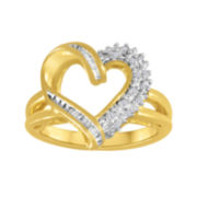 1/10 CT. T.W. Diamond 14K Yellow Gold Over Silver Heart Ring