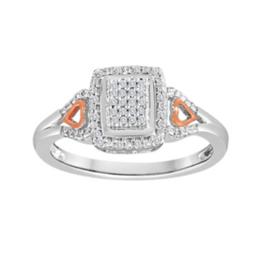 jcpenney.com | 1/10 CT. T.W. Diamond Sterling Silver and 14K Rose Gold Over Sterling Silver Ring